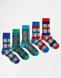 Комплект из 5 пар носков с зигзагообразным фактурным узором ASOS