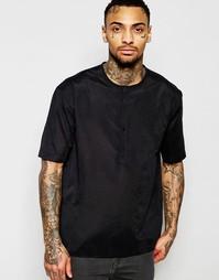 Черная рубашка без воротника из искусственной замши ASOS - Черный