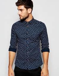 Облегающая рубашка с длинными рукавами ASOS - Темно-синий