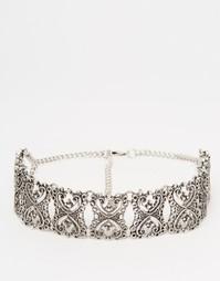 Филигранное ожерелье-чокер ASOS - Шлифованный серебряный