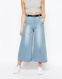 Светлая джинсовая юбка-брюки с люверсами Boohoo - Синий