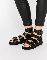 Черные кожаные сандалии с пряжками Kendall & Kylie Jackie - Черный