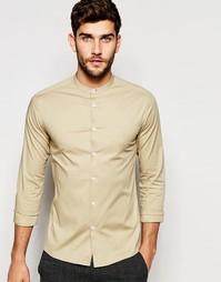 Зауженная рубашка с воротником на пуговице и длинными рукавами ASOS