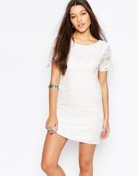 Цельнокройное платье с вышивкой и кружевом Abercrombie & Fitch - Белый