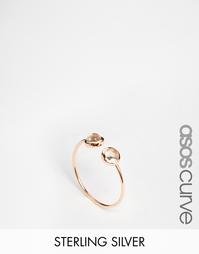 Незамкнутое кольцо из позолоченного серебра с камнями ASOS CURVE