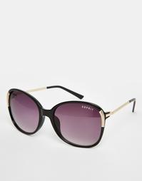 Большие солнцезащитные очки с золотистой отделкой на дужках Esprit