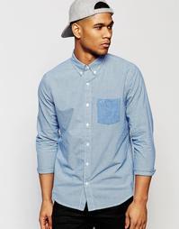 Синяя рубашка зауженного кроя в клеточку с контрастным карманом Hollis Hollister