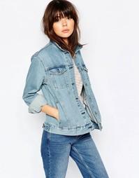 Джинсовая куртка бойфренда Weekday - Cиний Blue Vibe