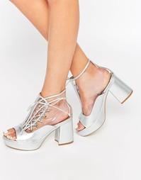 Серебристые босоножки с открытым носком Daisy Street