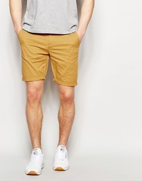 Светло-коричневые зауженные шорты чиносы ASOS - Медово-горчичный