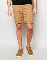 Светло-коричневые зауженные шорты чиносы ASOS