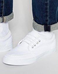 Белые кеды со шнуровкой и декоративной строчкой на носке ASOS - Белый