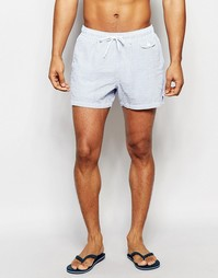 Короткие синие шорты для плавания из жатой ткани в полоску ASOS