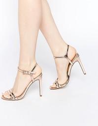 Босоножки на каблуке ASOS HAPHAZARD - Телесный металлик