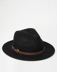 Черная фетровая шляпа с лентой из искусственной кожи ASOS - Черный