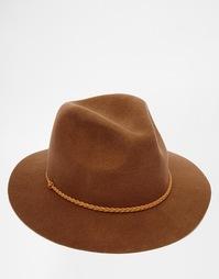 Коричневая мягкая фетровая шляпа с плетеным ремешком ASOS - Коричневый