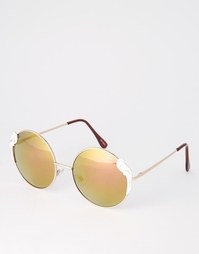 Круглые солнцезащитные очки с попугаями Quay - Золотой