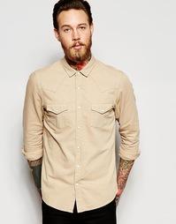 Бежевая джинсовая рубашка в стиле вестерн ASOS - Кэмел
