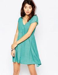 Чайное платье с принтом в цветочек Brave Soul - Нефрит