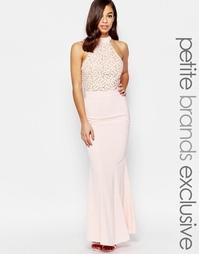 Платье макси с лифом халтер и кружевной отделкой Jarlo Petite Caden