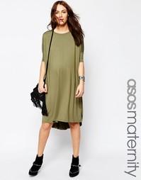 Платье-футболка миди для беременных ASOS Maternity - Хаки