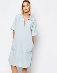 Джинсовое платье с воротником Weekday Medina - Синий