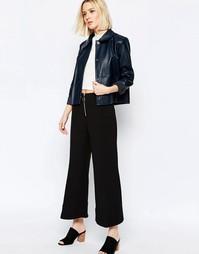 Укороченные брюки с широкими штанинами и молнией спереди Weekday