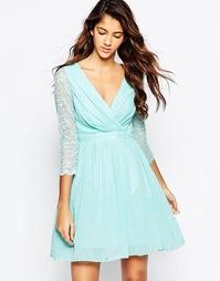 Короткое приталенное платье с кружевными рукавами Laced In Love - Aqua