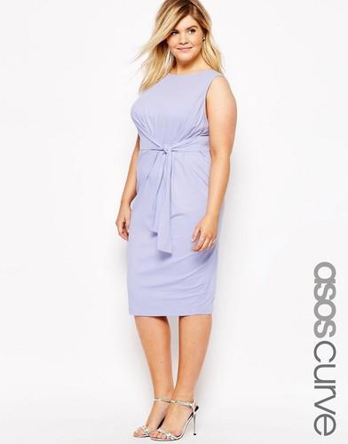 Облегающее платье миди с узелком сбоку ASOS CURVE - Сиреневый