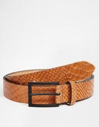 Классический кожаный ремень с эффектом змеиной кожи ASOS - Кэмел