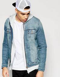 Синяя джинсовая куртка без воротника ASOS - Синий