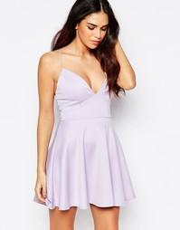 Короткое приталенное платье с глубоким вырезом AX Paris - Сиреневый