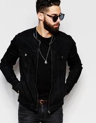 Черная джинсовая куртка без воротника ASOS - Черный