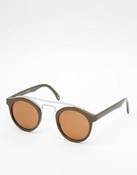 Круглые солнцезащитные очки цвета хаки с металлической переносицей ASO Asos