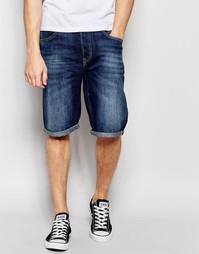 Темные прямые джинсовые шорты с 5 карманами Lee - Blue sphere
