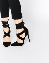 Черные туфли с ремешком в несколько оборотов Lost Ink Catch - Черный