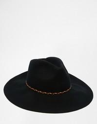 Черная фетровая шляпа с широкими полями и плетеной тесьмой ASOS