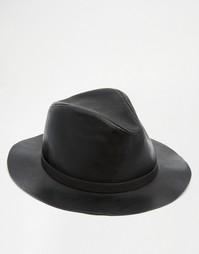 Черная шляпа из искусственной кожи ASOS - Черный