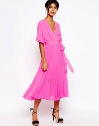 Плиссированное платье миди с запахом в стиле кимоно ASOS - Розовый