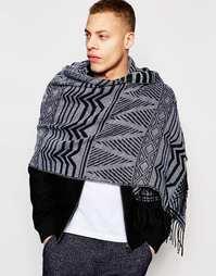 Широкий шарф с ацтекским узором в черно-белой гамме ASOS - Черный