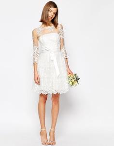 Кружевное платье мини с длинными рукавами ASOS BRIDAL - Белый