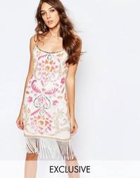 Платье-футляр с отделкой и бахромой Frock and Frill