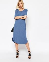 Длинное платье из синего меланжевого трикотажа Just Female Gilli