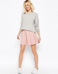 Короткая расклешенная юбка из фактурной ткани ASOS - Blush