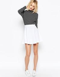 Короткая расклешенная юбка из фактурной ткани ASOS - Белый