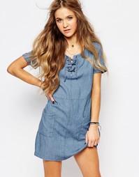 Платье со шнуровкой Hollister - Темно-синий