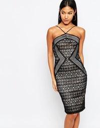 Кружевное платье на бретельках Michelle Keegan Loves Lipsy - Черный