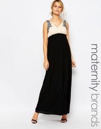 Платье макси для беременных с декорированным лифом Little Mistress Mat