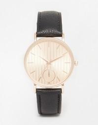 Металлические часы с циферблатом в полоску ASOS - Черный