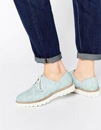Кожаные туфли на плоской подошве ASOS MATCHED UP - Бледно-синий